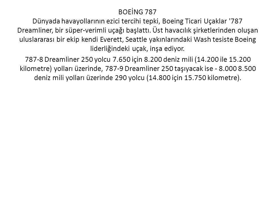 BOEİNG 787 Dünyada havayollarının ezici tercihi tepki, Boeing Ticari Uçaklar 787 Dreamliner, bir süper-verimli uçağı başlattı. Üst havacılık şirketlerinden oluşan uluslararası bir ekip kendi Everett, Seattle yakınlarındaki Wash tesiste Boeing liderliğindeki uçak, inşa ediyor.