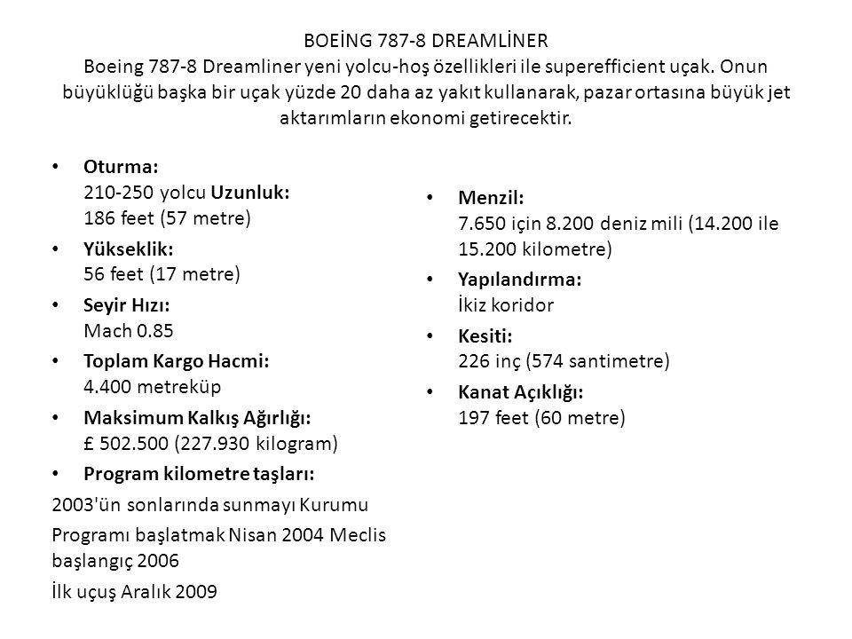 BOEİNG 787-8 DREAMLİNER Boeing 787-8 Dreamliner yeni yolcu-hoş özellikleri ile superefficient uçak. Onun büyüklüğü başka bir uçak yüzde 20 daha az yakıt kullanarak, pazar ortasına büyük jet aktarımların ekonomi getirecektir.