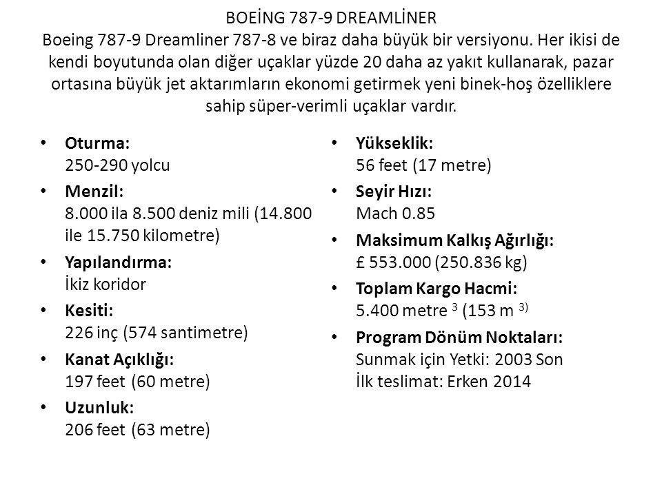 BOEİNG 787-9 DREAMLİNER Boeing 787-9 Dreamliner 787-8 ve biraz daha büyük bir versiyonu. Her ikisi de kendi boyutunda olan diğer uçaklar yüzde 20 daha az yakıt kullanarak, pazar ortasına büyük jet aktarımların ekonomi getirmek yeni binek-hoş özelliklere sahip süper-verimli uçaklar vardır.
