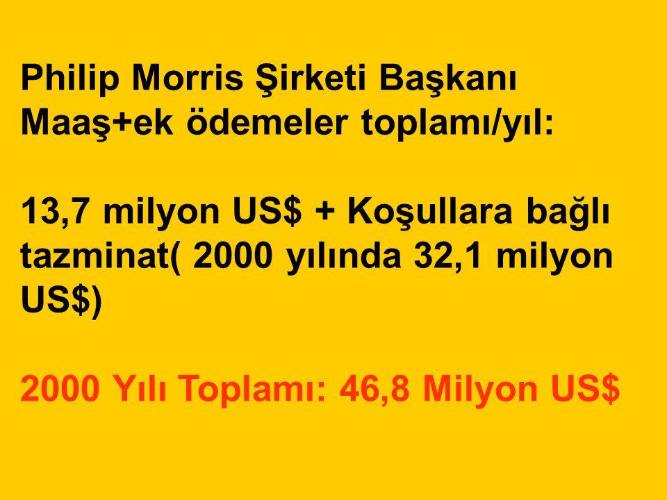 Philip Morris Şirketi Başkanı Maaş+ek ödemeler toplamı/yıl: