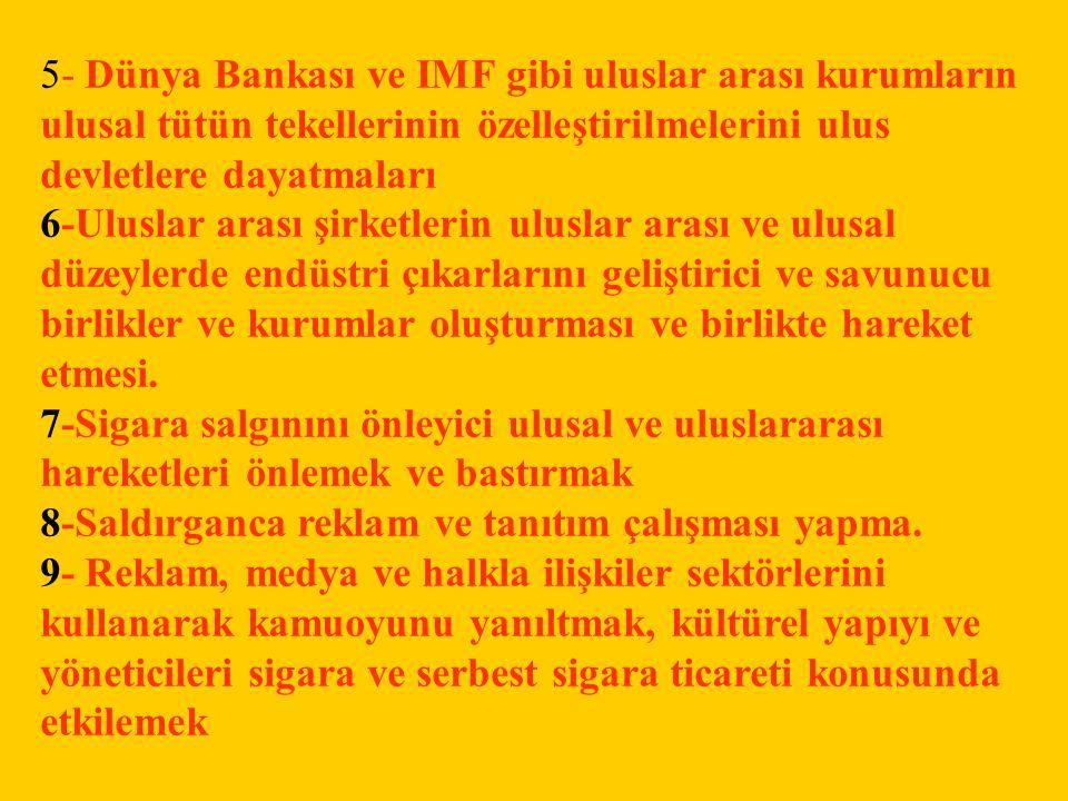 5- Dünya Bankası ve IMF gibi uluslar arası kurumların ulusal tütün tekellerinin özelleştirilmelerini ulus devletlere dayatmaları