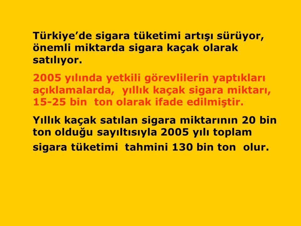 Türkiye'de sigara tüketimi artışı sürüyor, önemli miktarda sigara kaçak olarak satılıyor.