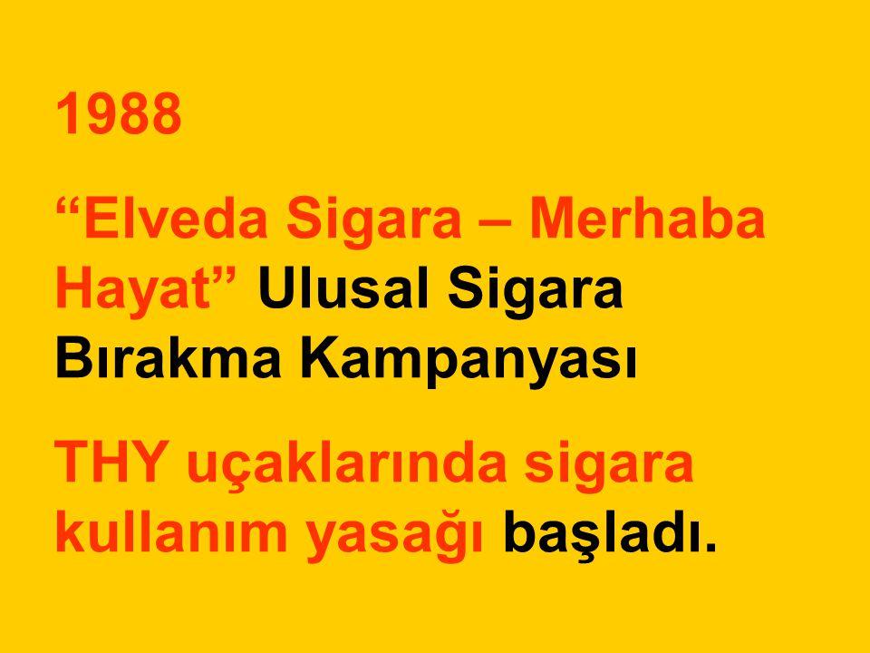 1988 Elveda Sigara – Merhaba Hayat Ulusal Sigara Bırakma Kampanyası.