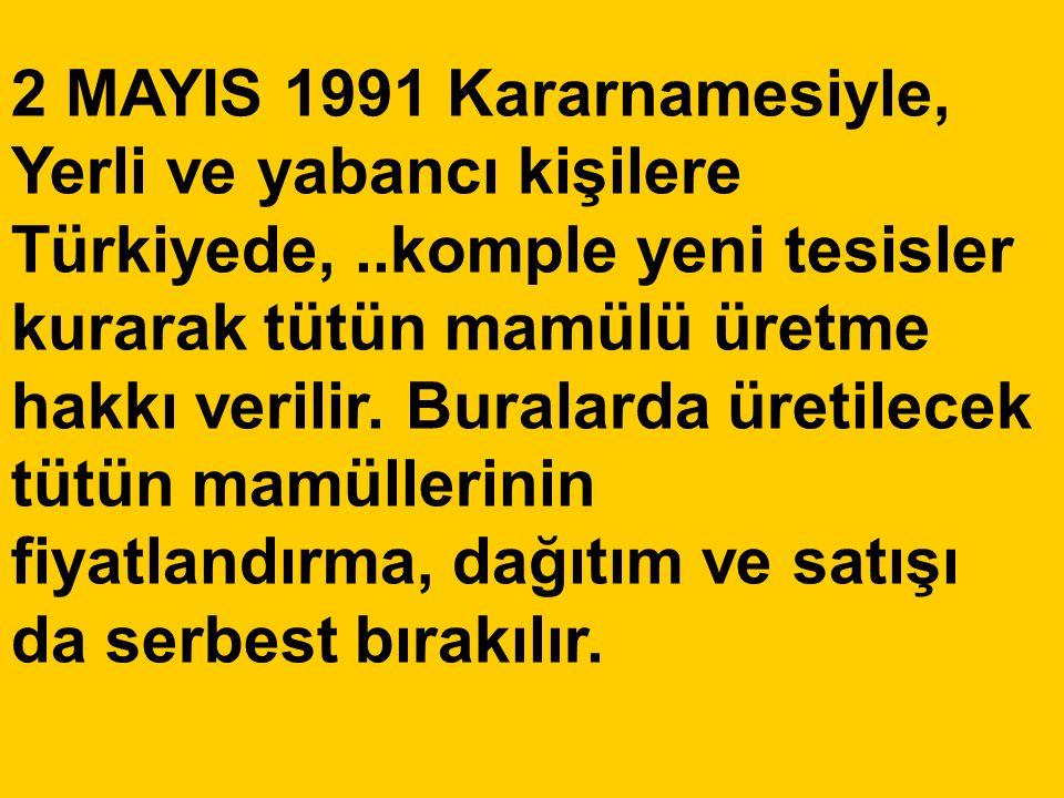 2 MAYIS 1991 Kararnamesiyle, Yerli ve yabancı kişilere Türkiyede,