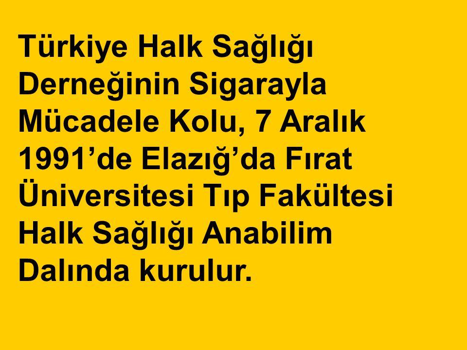 Türkiye Halk Sağlığı Derneğinin Sigarayla Mücadele Kolu, 7 Aralık 1991'de Elazığ'da Fırat Üniversitesi Tıp Fakültesi Halk Sağlığı Anabilim Dalında kurulur.
