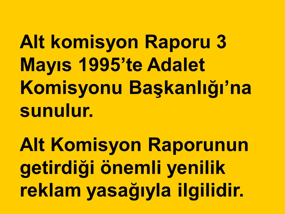 Alt komisyon Raporu 3 Mayıs 1995'te Adalet Komisyonu Başkanlığı'na sunulur.