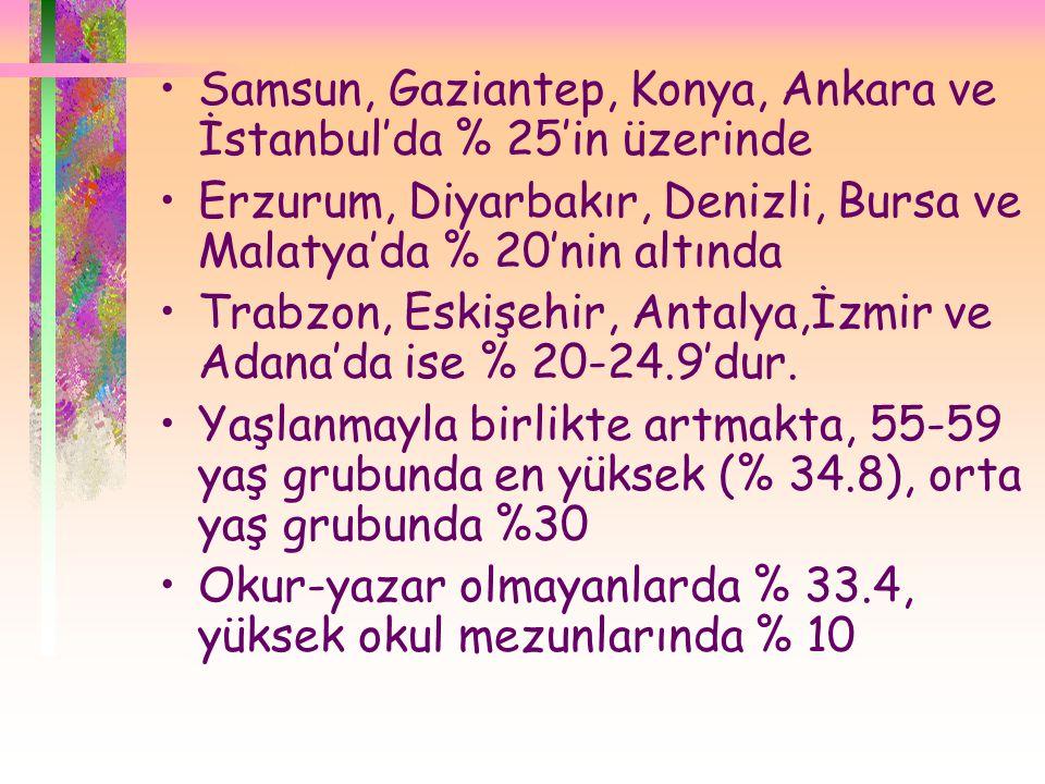 Samsun, Gaziantep, Konya, Ankara ve İstanbul'da % 25'in üzerinde
