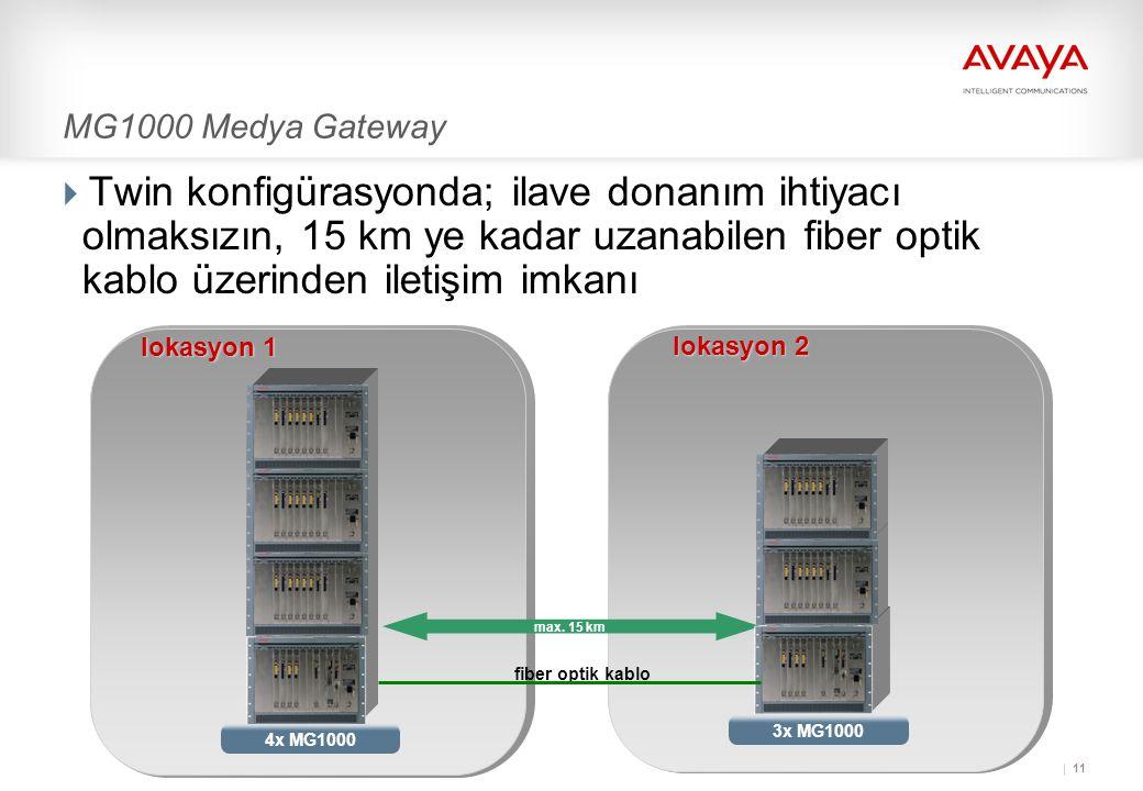 MG1000 Medya Gateway Twin konfigürasyonda; ilave donanım ihtiyacı olmaksızın, 15 km ye kadar uzanabilen fiber optik kablo üzerinden iletişim imkanı.
