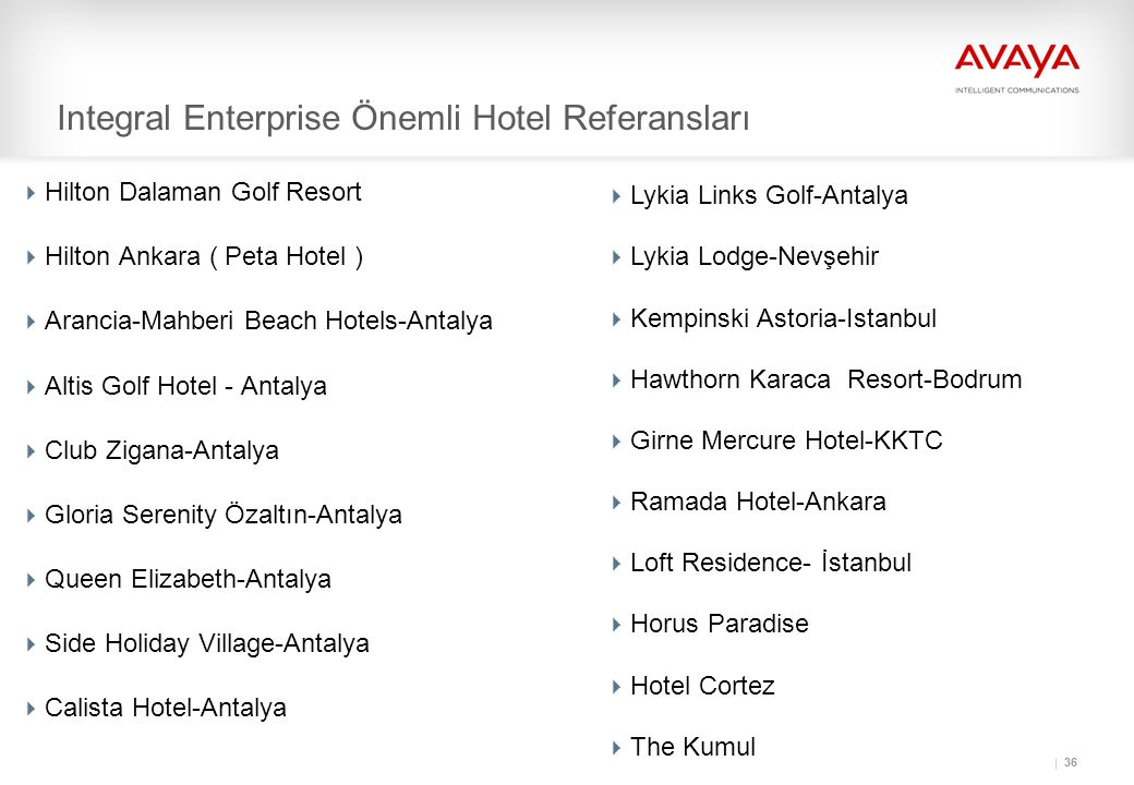 Integral Enterprise Önemli Hotel Referansları