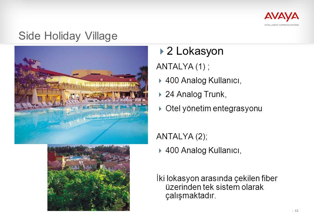 Side Holiday Village 2 Lokasyon ANTALYA (1) ; 400 Analog Kullanıcı,
