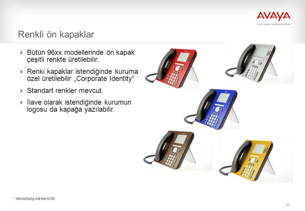 Renkli ön kapaklar Bütün 96xx modellerinde ön kapak çeşitli renkte üretilebilir.