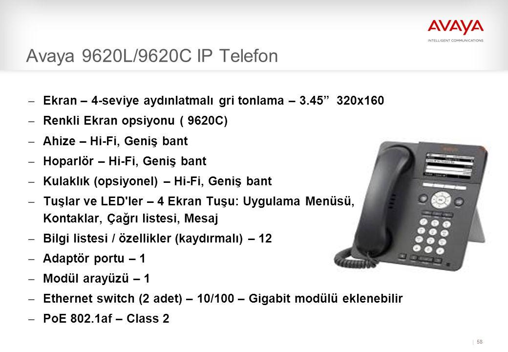 Avaya 9620L/9620C IP Telefon Ekran – 4-seviye aydınlatmalı gri tonlama – 3.45 320x160. Renkli Ekran opsiyonu ( 9620C)