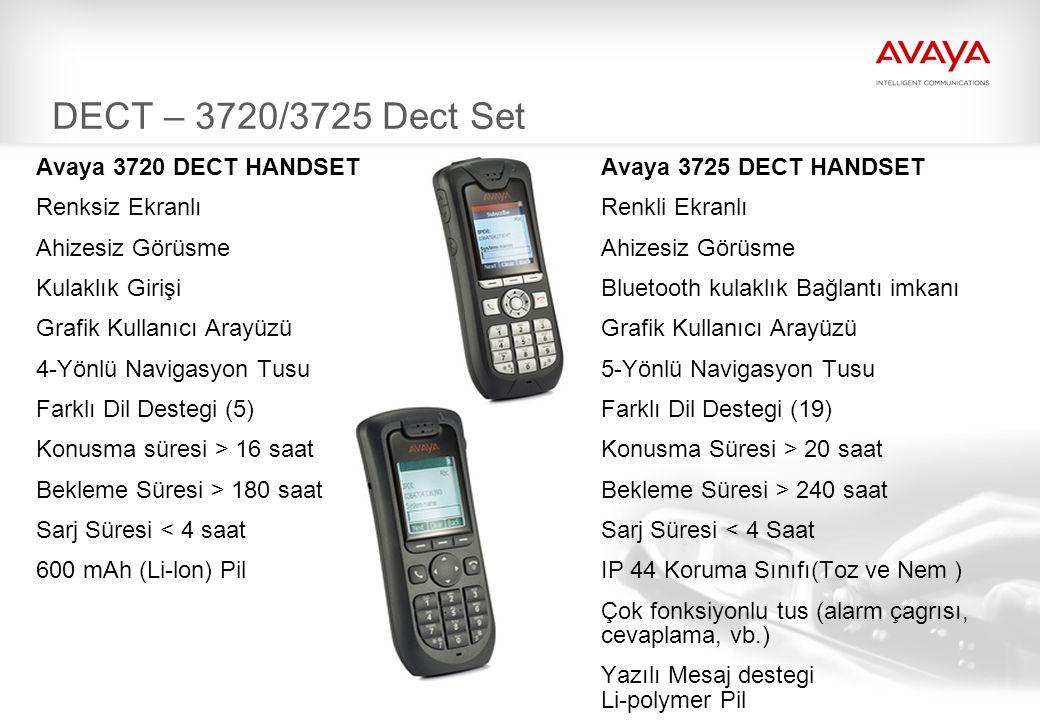 DECT – 3720/3725 Dect Set Avaya 3720 DECT HANDSET Avaya 3725 DECT HANDSET. Renksiz Ekranlı Renkli Ekranlı.