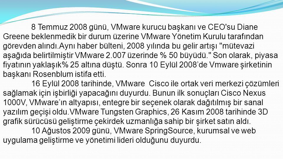 8 Temmuz 2008 günü, VMware kurucu başkanı ve CEO su Diane Greene beklenmedik bir durum üzerine VMware Yönetim Kurulu tarafından görevden alındı.Aynı haber bülteni, 2008 yılında bu gelir artışı mütevazi aşağıda belirtilmiştir VMware 2.007 üzerinde % 50 büyüdü. Son olarak, piyasa fiyatının yaklaşık% 25 altına düştü. Sonra 10 Eylül 2008'de Vmware şirketinin başkanı Rosenblum istifa etti.