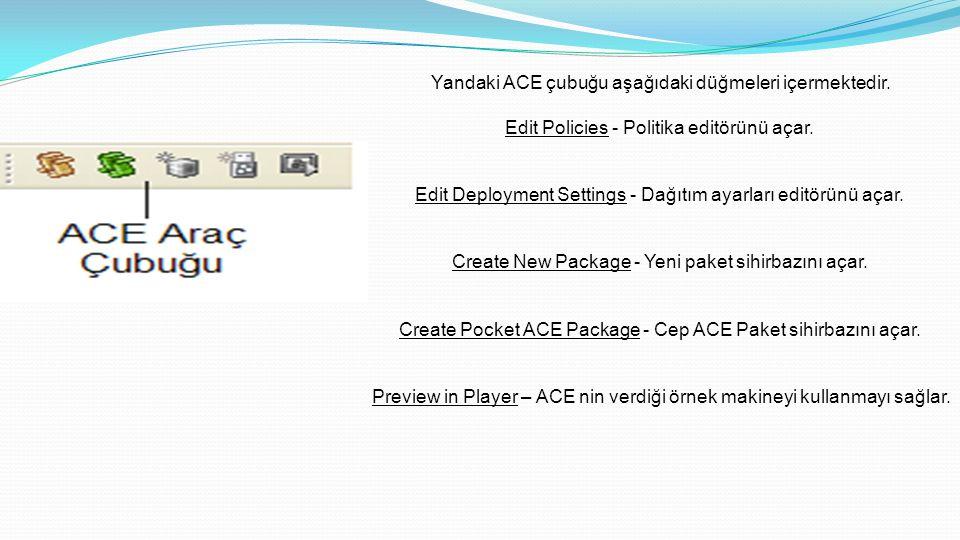 Yandaki ACE çubuğu aşağıdaki düğmeleri içermektedir.