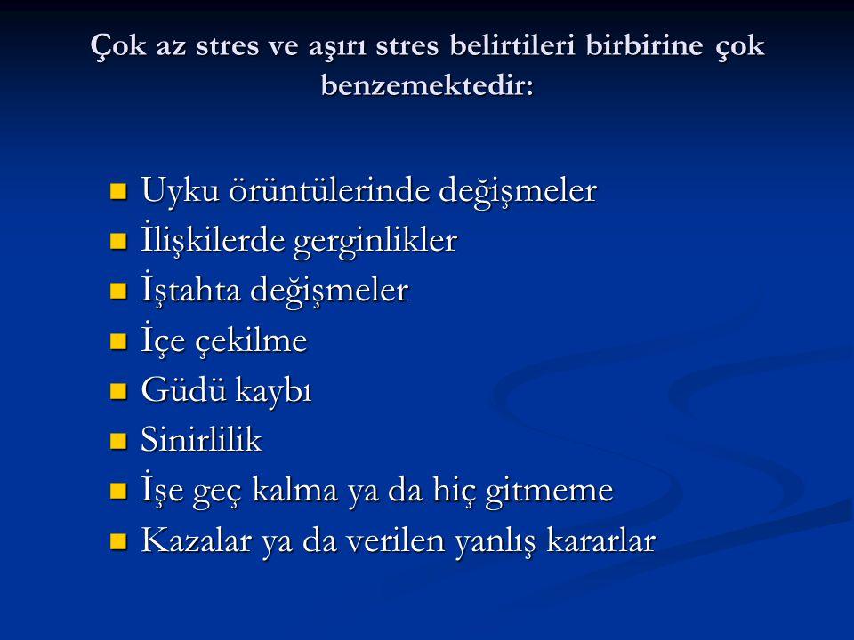 Çok az stres ve aşırı stres belirtileri birbirine çok benzemektedir: