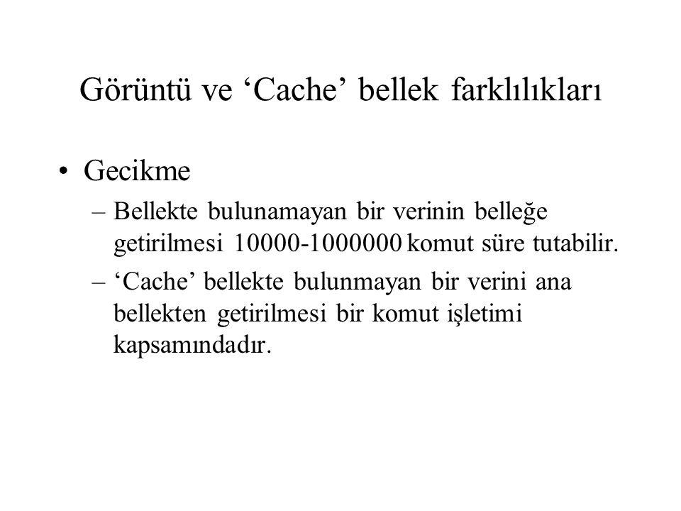 Görüntü ve 'Cache' bellek farklılıkları