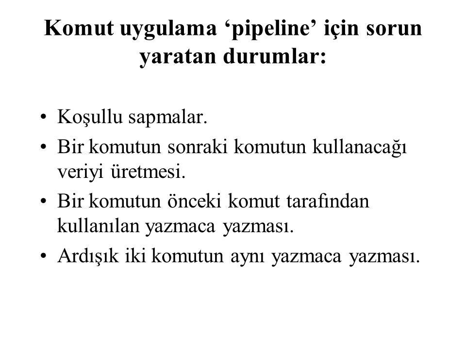 Komut uygulama 'pipeline' için sorun yaratan durumlar: