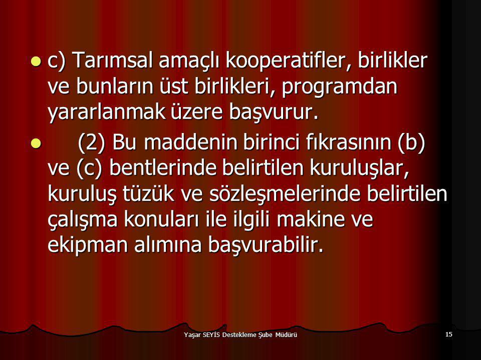 Yaşar SEYİS Destekleme Şube Müdürü