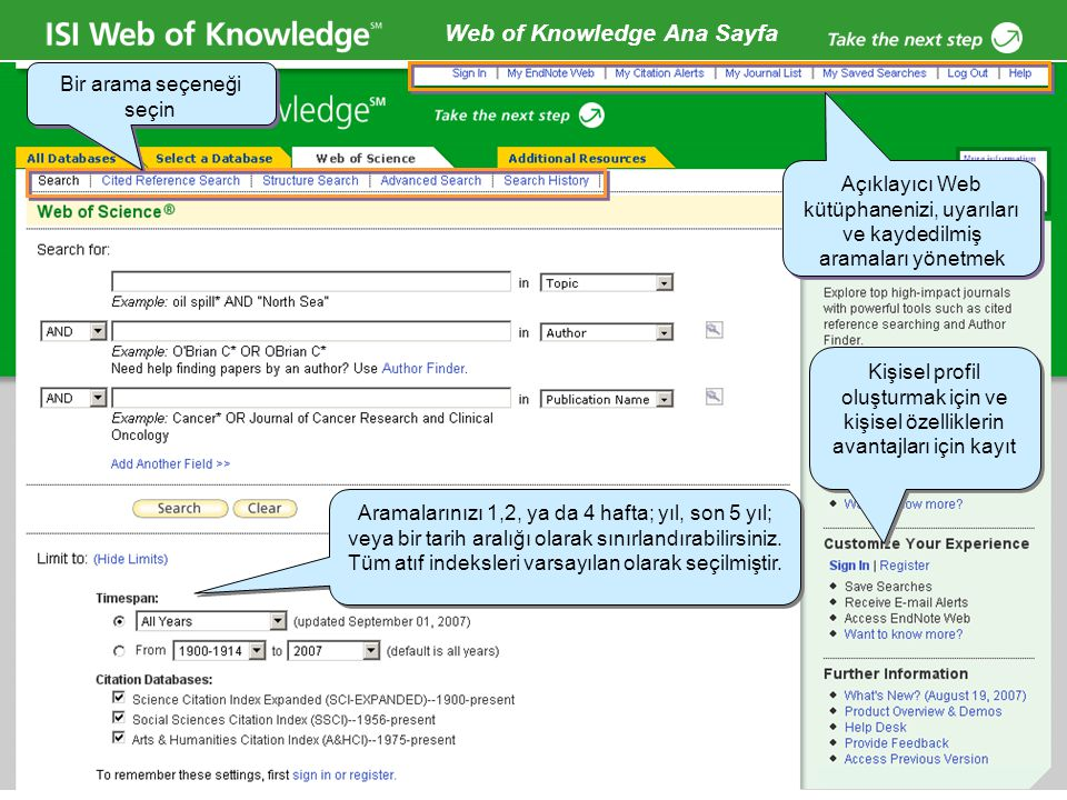 Web of Knowledge Ana Sayfa