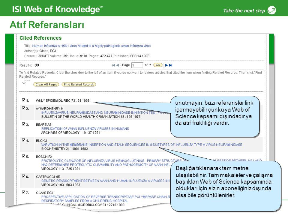 Atıf Referansları unutmayın: bazı referanslar link içermeyebilir çünkü ya Web of Science kapsamı dışındadır ya da atıf fraklılığı vardır.
