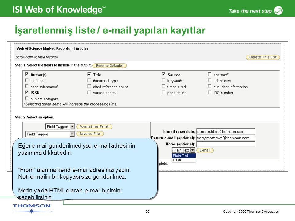İşaretlenmiş liste / e-mail yapılan kayıtlar