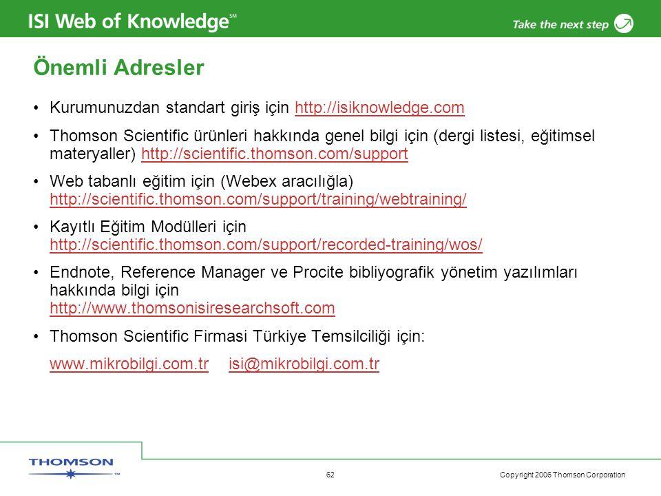 Önemli Adresler Kurumunuzdan standart giriş için http://isiknowledge.com.