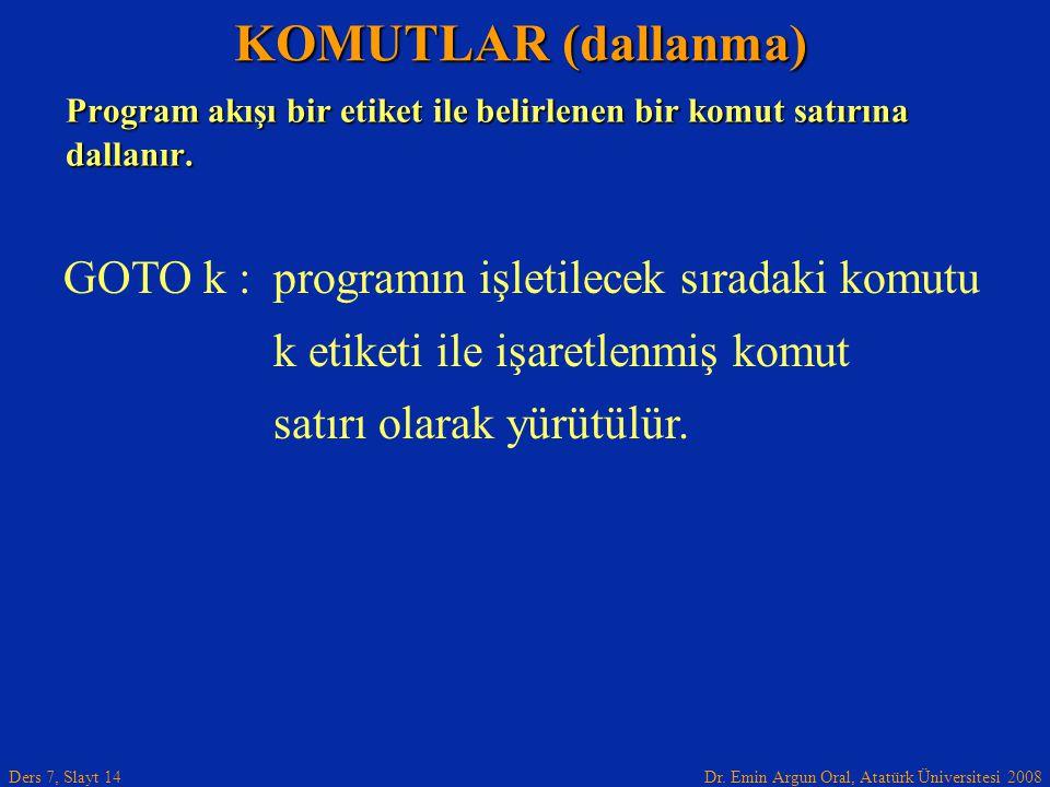 KOMUTLAR (dallanma) GOTO k : programın işletilecek sıradaki komutu
