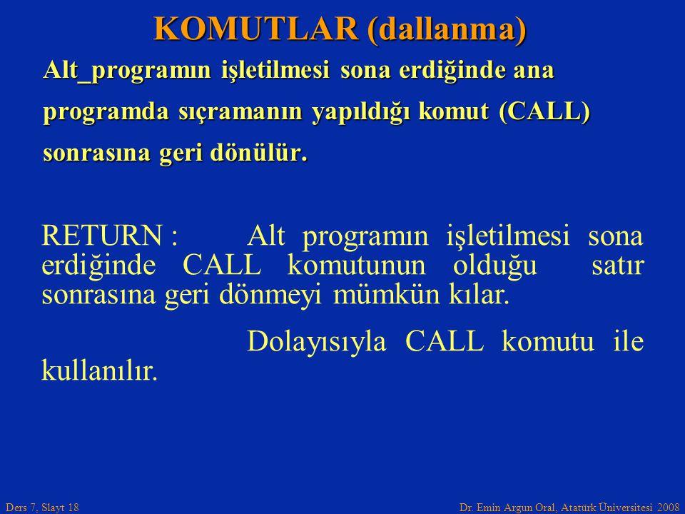 KOMUTLAR (dallanma) Alt_programın işletilmesi sona erdiğinde ana. programda sıçramanın yapıldığı komut (CALL)