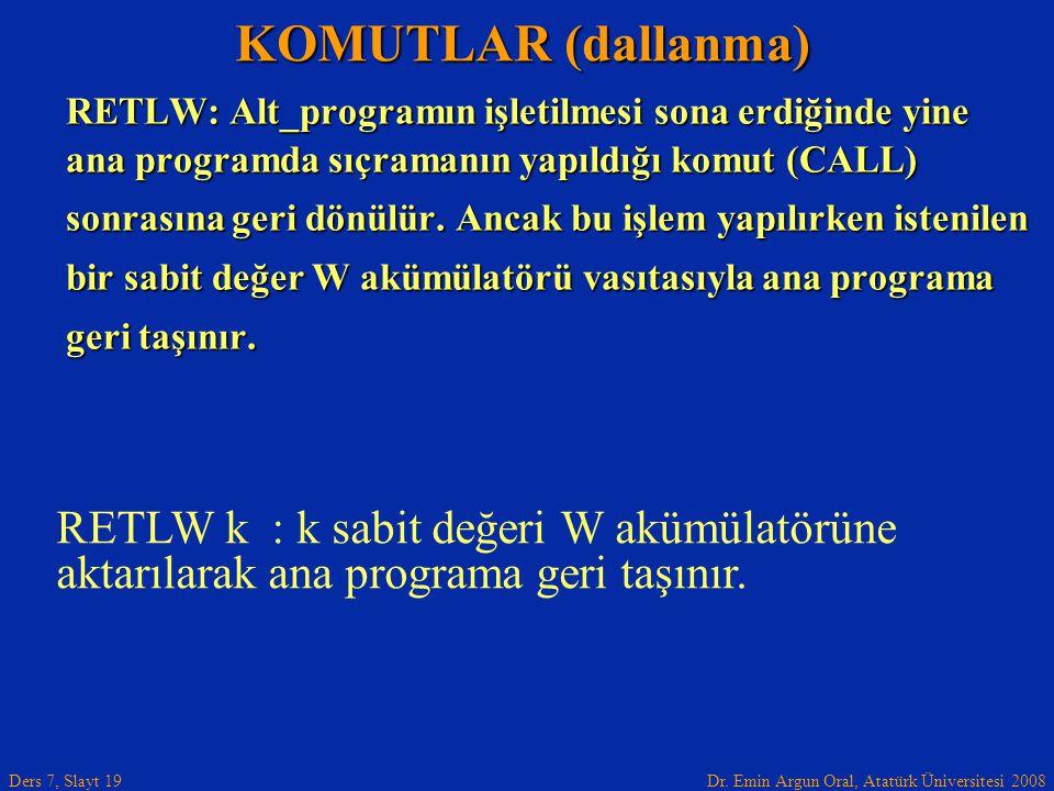 KOMUTLAR (dallanma) RETLW: Alt_programın işletilmesi sona erdiğinde yine. ana programda sıçramanın yapıldığı komut (CALL)