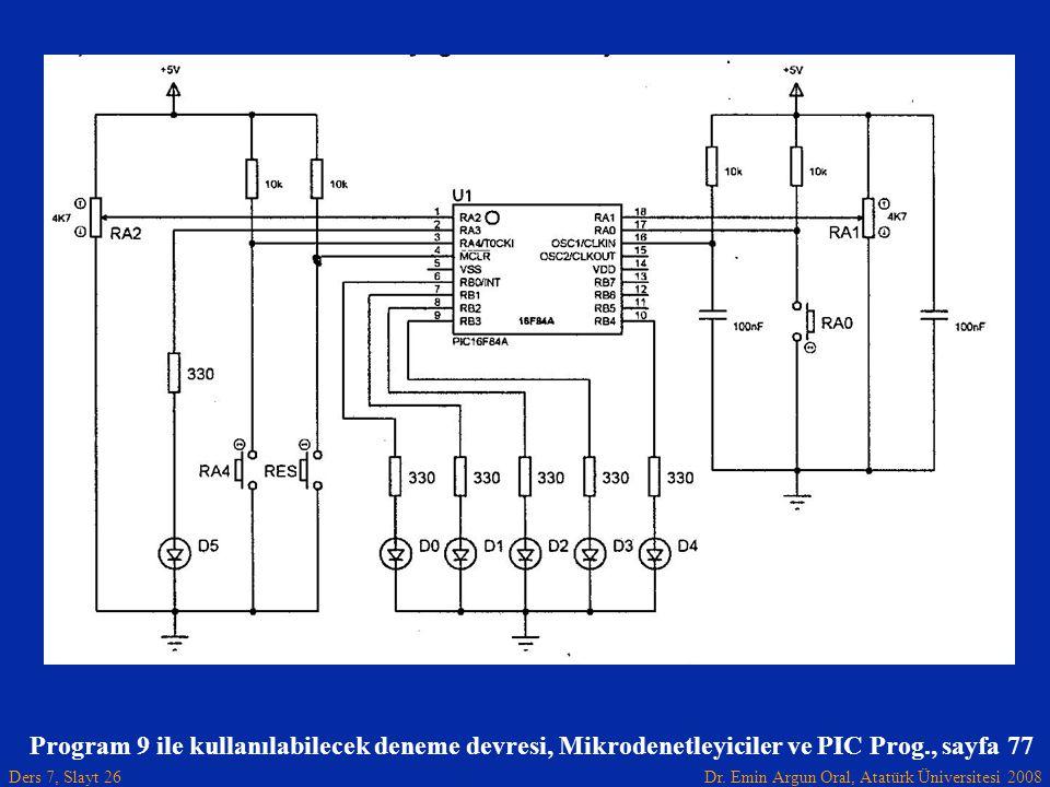 Program 9 ile kullanılabilecek deneme devresi, Mikrodenetleyiciler ve PIC Prog., sayfa 77