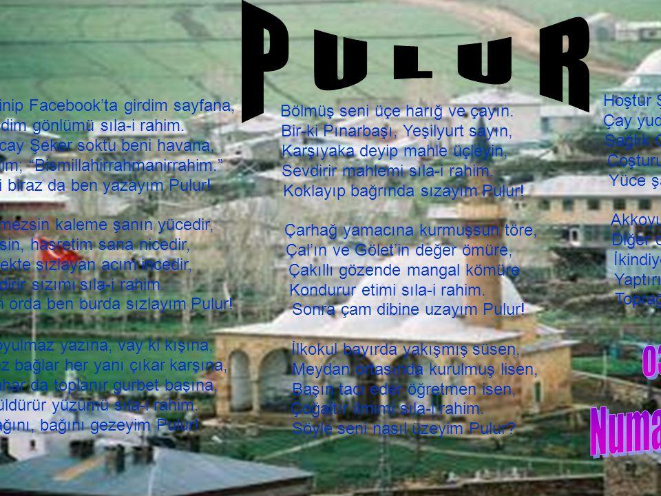 P U L U R Hoştur Şehit Samet Akdeniz parkın! Çay yudumlar orda sohbette halkın, Sağlık Ocak, Konak hizmette farkın,