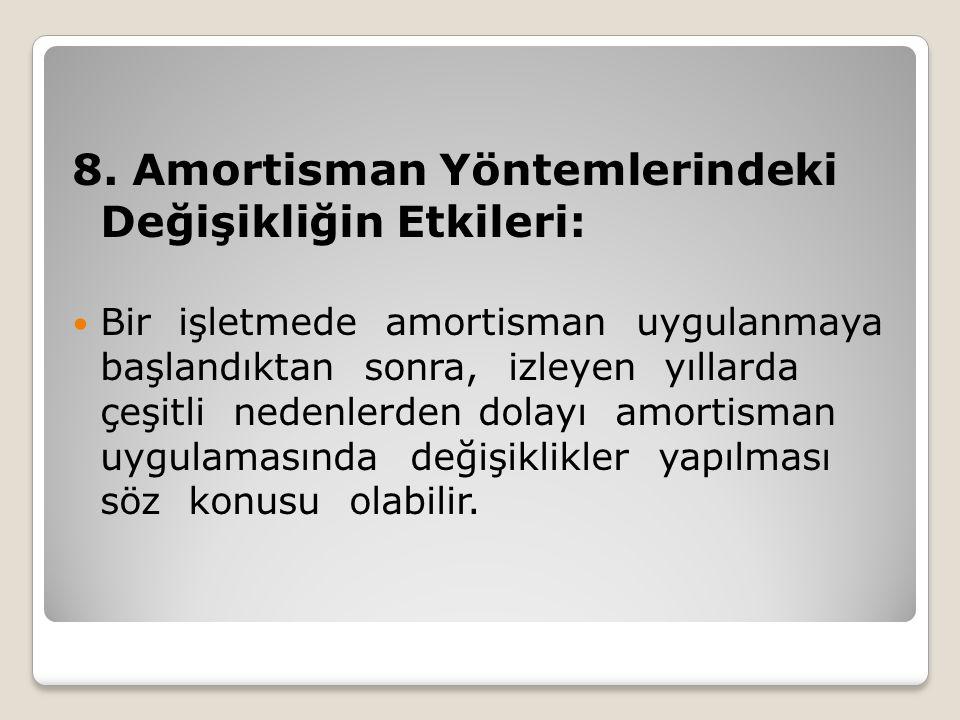 8. Amortisman Yöntemlerindeki Değişikliğin Etkileri: