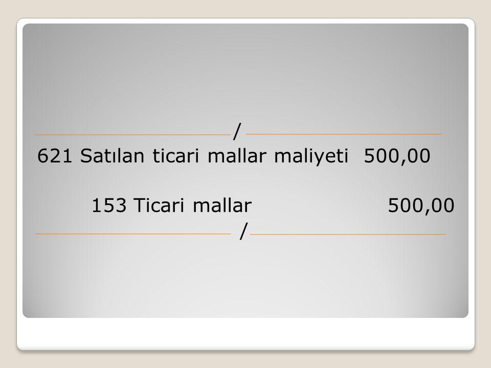 / 621 Satılan ticari mallar maliyeti 500,00 153 Ticari mallar 500,00