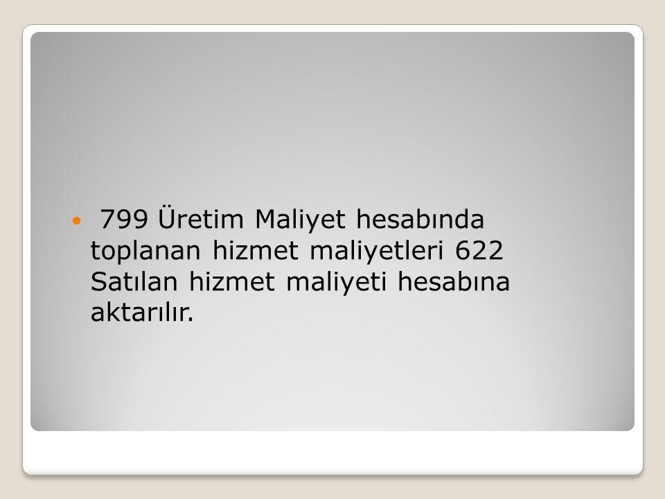 799 Üretim Maliyet hesabında toplanan hizmet maliyetleri 622 Satılan hizmet maliyeti hesabına aktarılır.