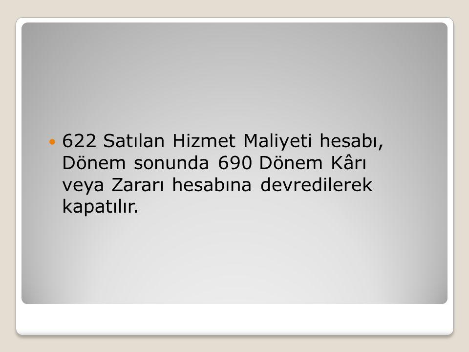 622 Satılan Hizmet Maliyeti hesabı, Dönem sonunda 690 Dönem Kârı veya Zararı hesabına devredilerek kapatılır.