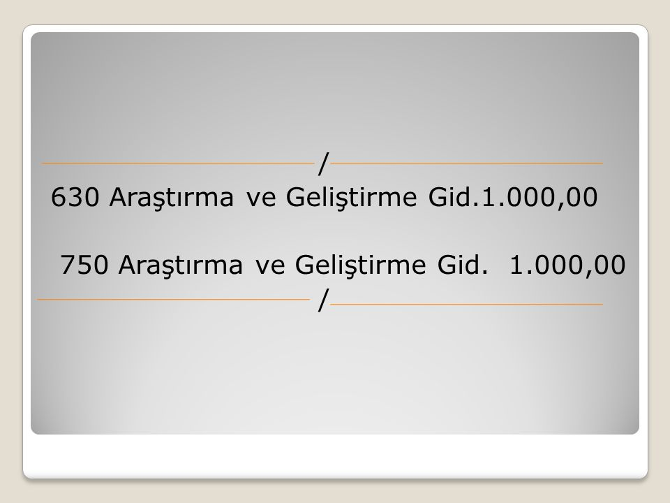 / 630 Araştırma ve Geliştirme Gid.1.000,00 750 Araştırma ve Geliştirme Gid. 1.000,00