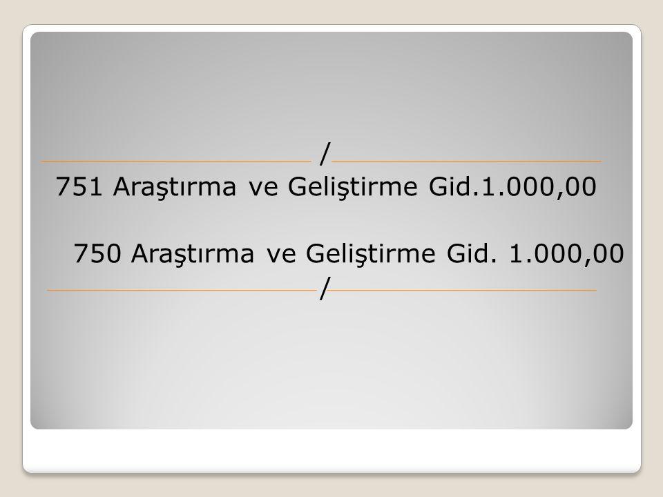 / 751 Araştırma ve Geliştirme Gid.1.000,00 750 Araştırma ve Geliştirme Gid. 1.000,00