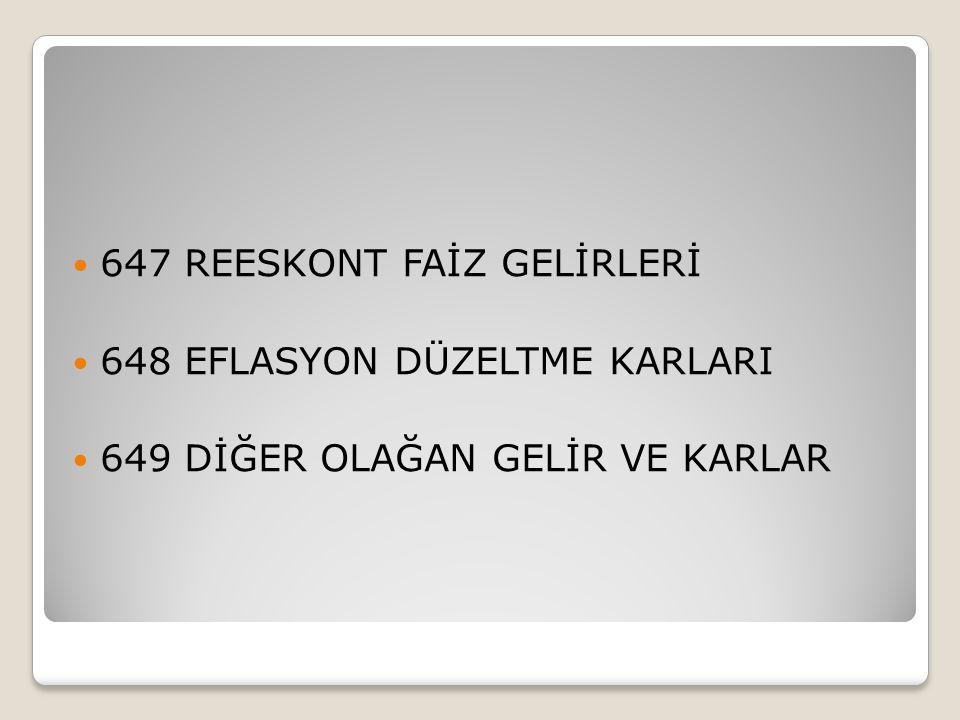 647 REESKONT FAİZ GELİRLERİ