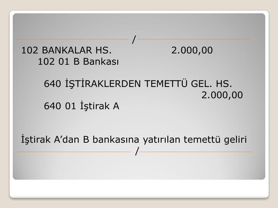 / 102 BANKALAR HS. 2.000,00 102 01 B Bankası 640 İŞTİRAKLERDEN TEMETTÜ GEL.
