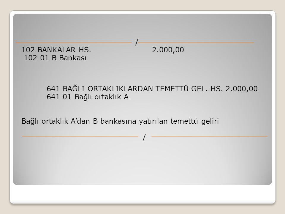 / 102 BANKALAR HS. 2.000,00. 102 01 B Bankası. 641 BAĞLI ORTAKLIKLARDAN TEMETTÜ GEL. HS. 2.000,00.