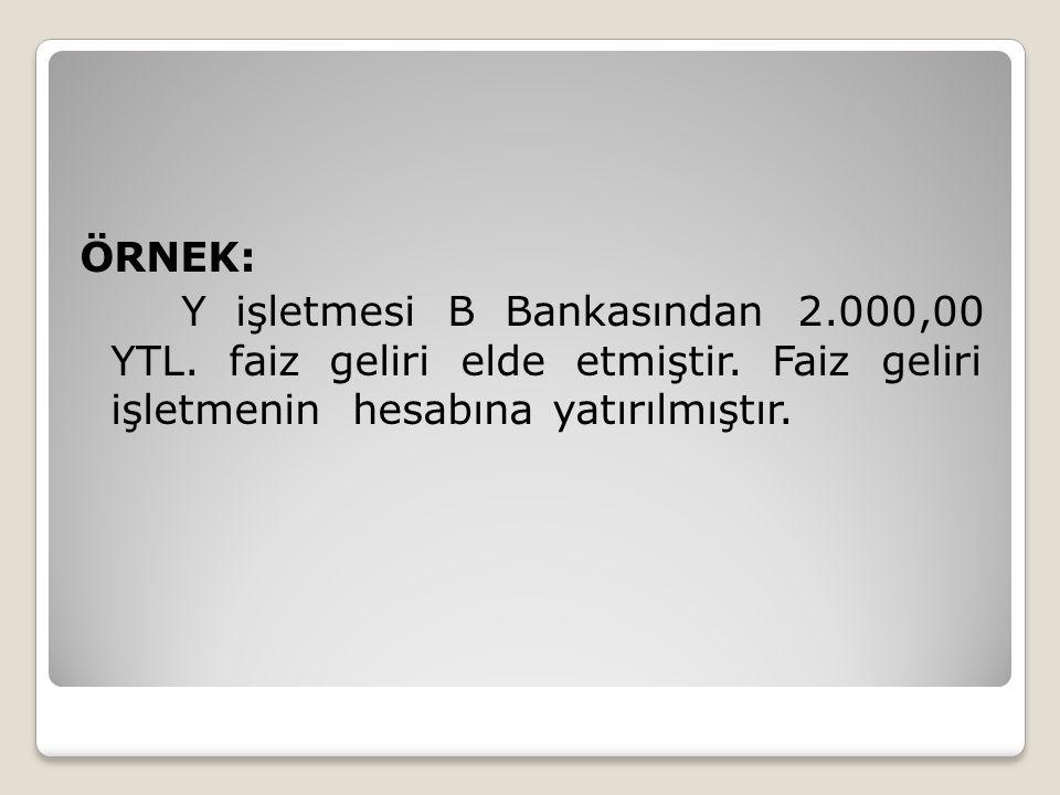 ÖRNEK: Y işletmesi B Bankasından 2. 000,00 YTL