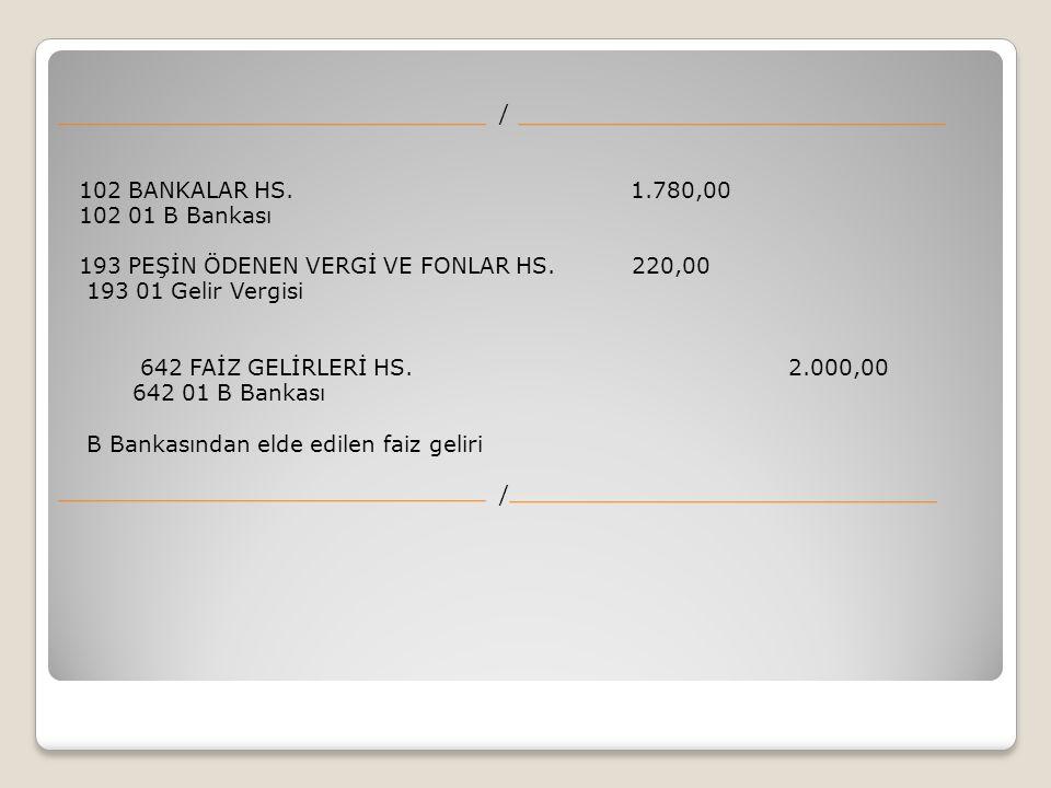 / 102 BANKALAR HS. 1.780,00 102 01 B Bankası 193 PEŞİN ÖDENEN VERGİ VE FONLAR HS.