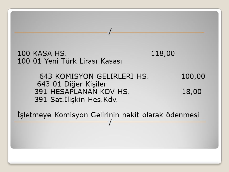 / 100 KASA HS. 118,00 100 01 Yeni Türk Lirası Kasası 643 KOMİSYON GELİRLERİ HS.