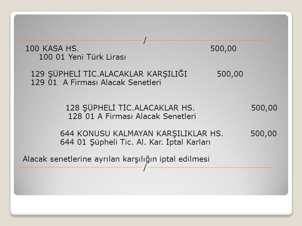 / 100 KASA HS. 500,00 100 01 Yeni Türk Lirası 129 ŞÜPHELİ TİC