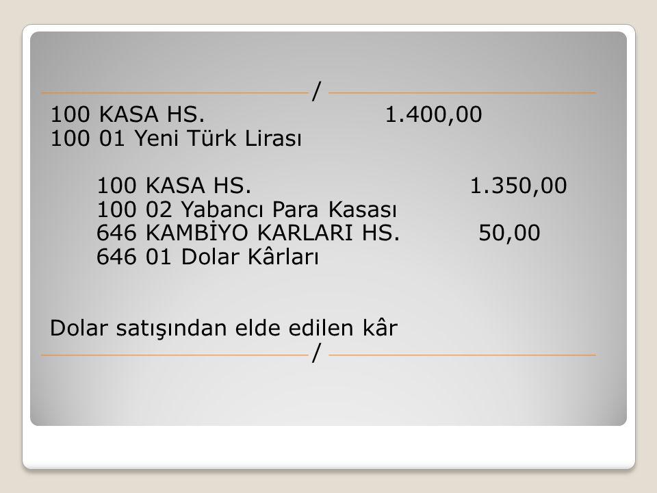 / 100 KASA HS. 1. 400,00 100 01 Yeni Türk Lirası 100 KASA HS. 1