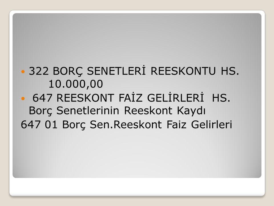 322 BORÇ SENETLERİ REESKONTU HS. 10.000,00