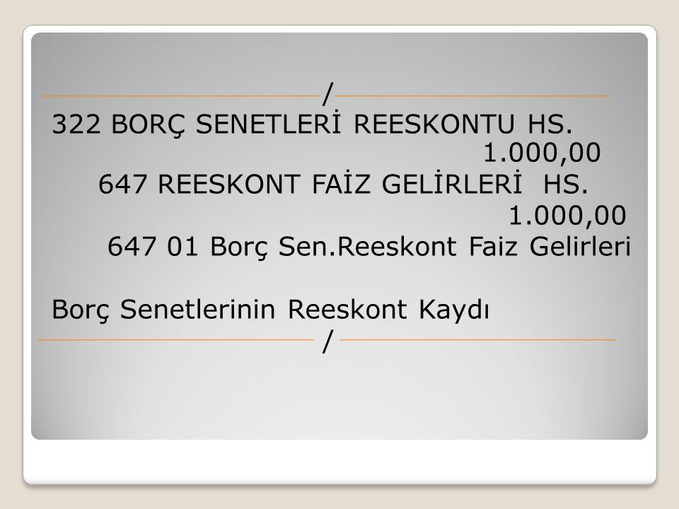 / 322 BORÇ SENETLERİ REESKONTU HS. 1
