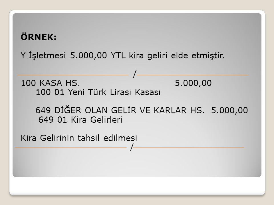 ÖRNEK: Y İşletmesi 5.000,00 YTL kira geliri elde etmiştir. / 100 KASA HS. 5.000,00.