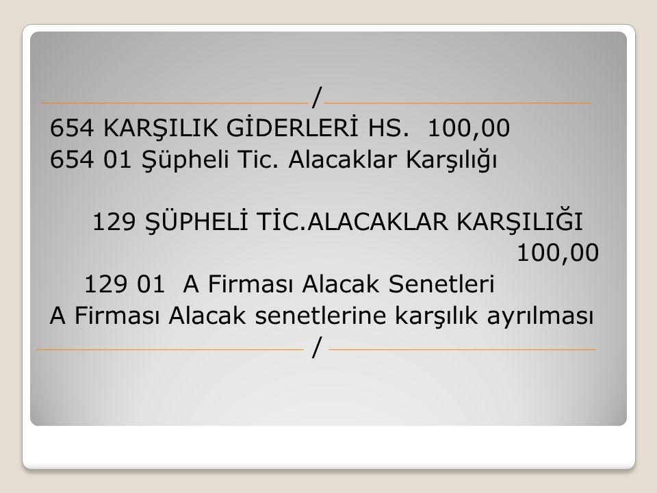 / 654 KARŞILIK GİDERLERİ HS. 100,00 654 01 Şüpheli Tic